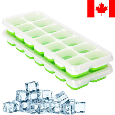 2pk Ice Cube Tray, Silicone Ice Cube Trays W/ Spill-Resistant Lids,14-Ice Trays