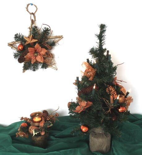 3er Adventsdeko Weihnachtsdeko Kupfer Gesteck Wandkreuz Baum 50 cm Lichterkette
