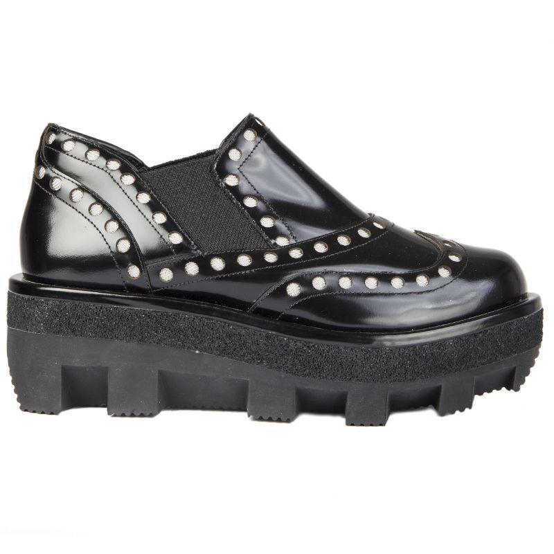 54778 auth ALEXANDER WANG black glazed leather Platform Derby Flats Shoes 35
