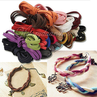 Flat Leather Cord Suede Thong Lace Rope Jewellery Making Thread String 1M 5mm