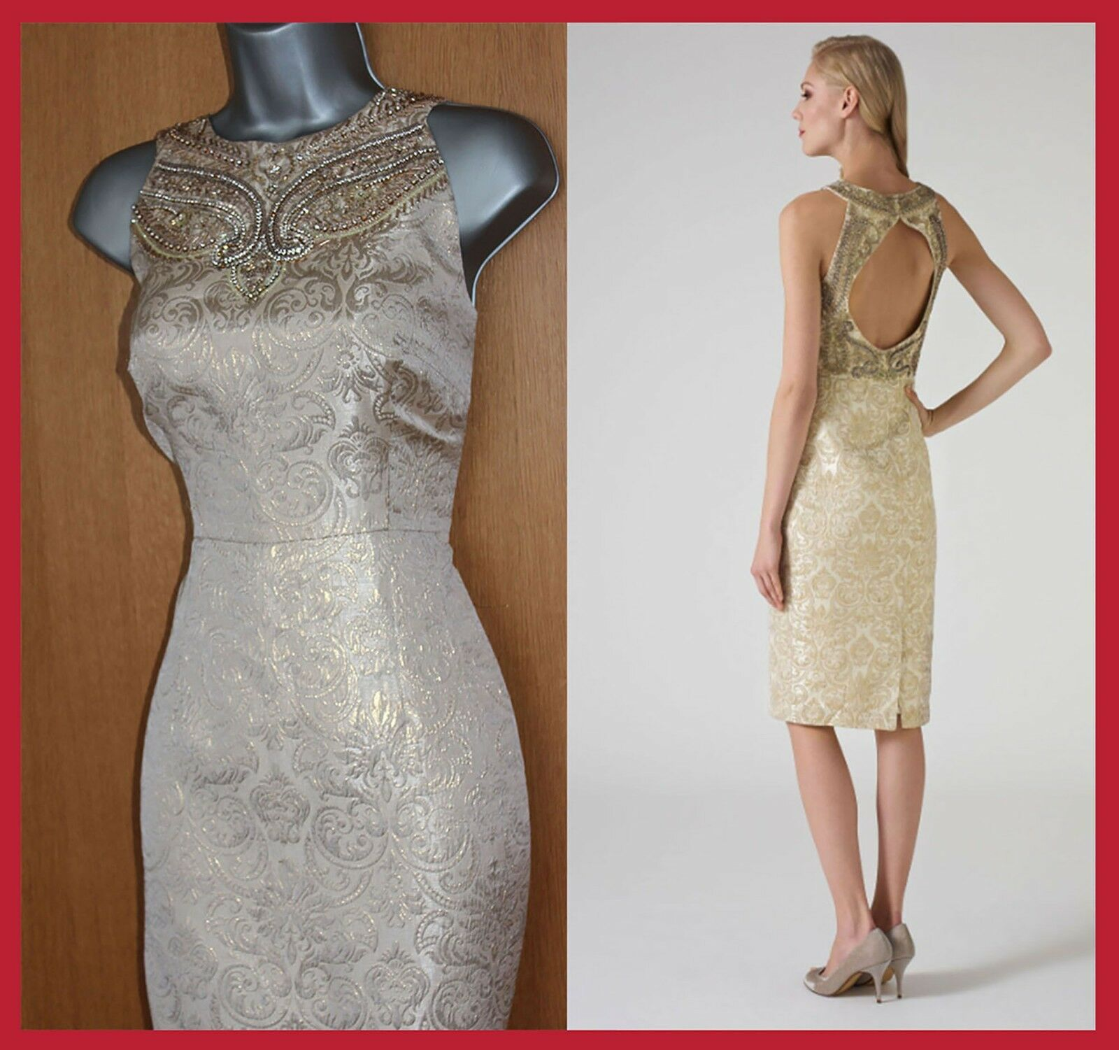 MONSOON Gold Metallic Jacquard Embellished Open Back TailGoldt Cocktail Dress 12