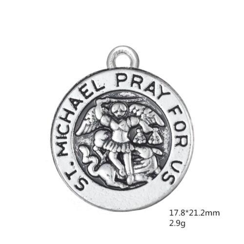 10Pcs ST Saint Michael Pray For Us Bulk Religious Charms Lot Archangel Pendants