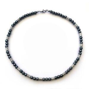 regard détaillé 9f274 36649 Detalles de Collier Homme Perles HEMATITE noir + Métal