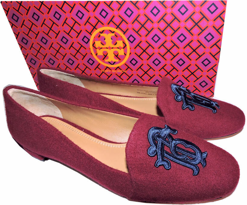 Tory Burch Antonia Monogram Loafer Ballet Flats Ballerina shoes Burgundy bluee 8