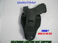 Universal Usa Tuckable Leather Black Concealed Carry Holster P4 Glock S&w Rt Lf