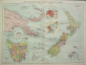 1934 LARGE MAP BRITISH NEW GUINEA TASMANIA NEW ZEALAND FIHI