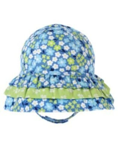 GYMBOREE DARLING BUTTERFLY BLUE FLORAL TIERED SUN BUCKET HAT 0 3 6 12 18 NWT