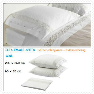 ikea emmie spets berschlaglaken kissenbezug wei 200x260 65x65 cm neu ovp ebay. Black Bedroom Furniture Sets. Home Design Ideas