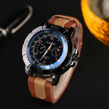 Men Sport Stainless Steel Watches Analog Quartz Leather Wrist Dress Watch N1
