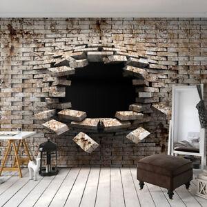 Details zu VLIES FOTOTAPETE 3D Ziegelstein Steinwand grau TAPETE WANDBILDER  XXL Wohnzimmer