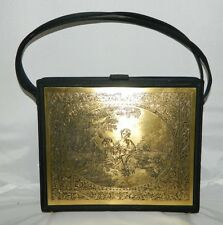 VTG NETTIE ROSENSTEIN Bergdorf Goodman Italian Gold Tone Victorian Plaque Purse