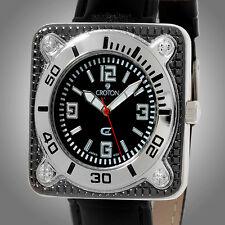 Croton CX2 Sport Mens Square Cut Precision Timepiece -Polished SS Case-MSRP $125