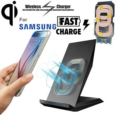 2 Coils Qi Wireless Fast Charger Charging Dock Stand Holder For iPhone Samsung
