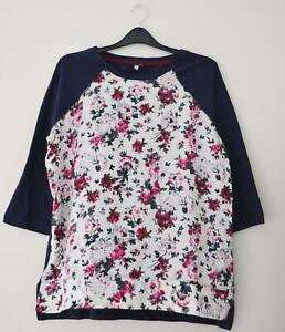 NEW-EX-JOULES-SIZE-8-10-12-14-BLUE-PINK-CREAM-PART-JERSEY-PRINT-BLOUSE-TOP