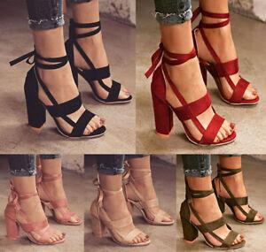 Ladies-Women-High-Block-Heels-Open-Toe-Fashion-Lace-Up-Strap-Sandals-Party-Shoes