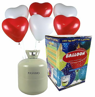 PASAMO Helium Marken Ballongas inklusive 50 rot und weiß gemischte Herz Ballons