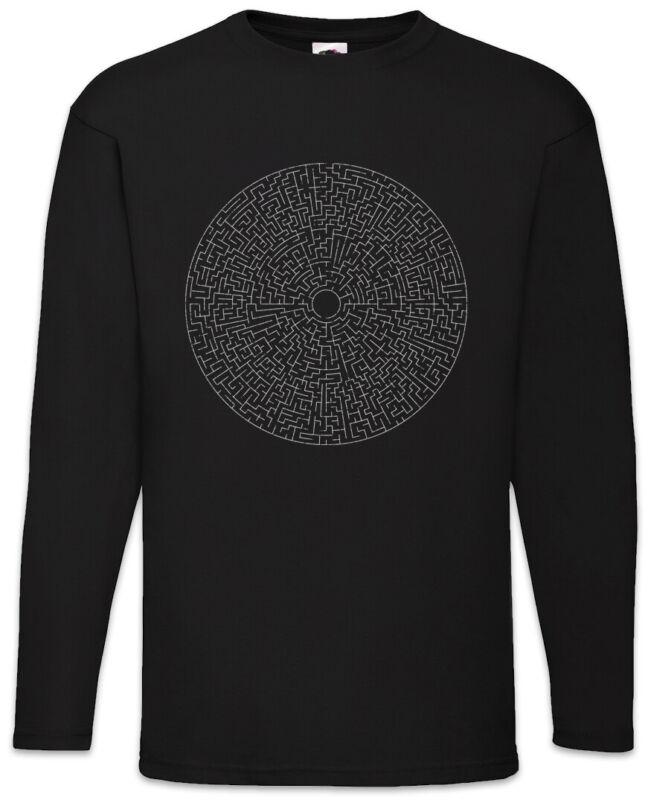 Circle Maze Iii Herren Langarm T-shirt Labyrinth Mystik Hypnose Hypnotize