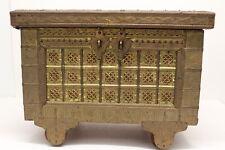 "Vintage Wooden Box on Wooden Wheels w/ Exterior Metal Work ~ 13"" x 9"" x 10"""