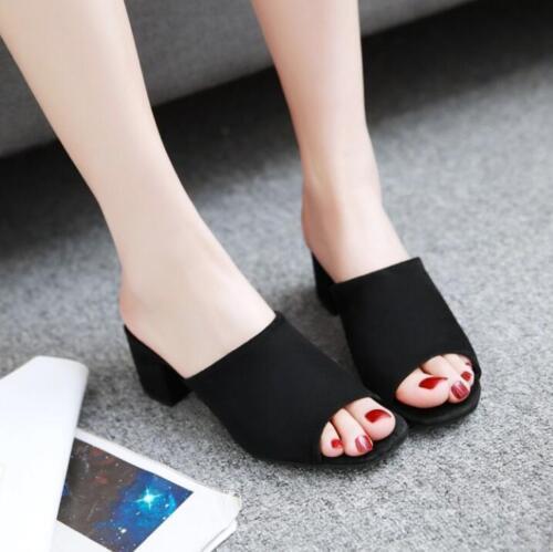 Womens Mules Slip On Peep Toes Med Block Heels Pumps Summer Casual Sandal Shoes
