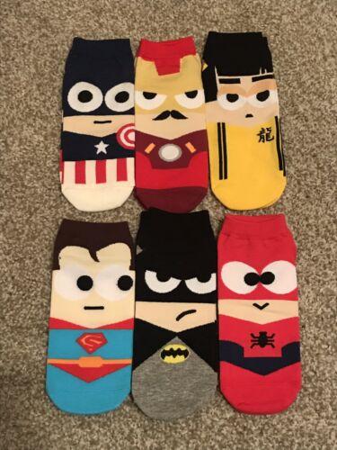6 Pcs Superhero Superman Ironman Batman Ankle Socks Size 8-10