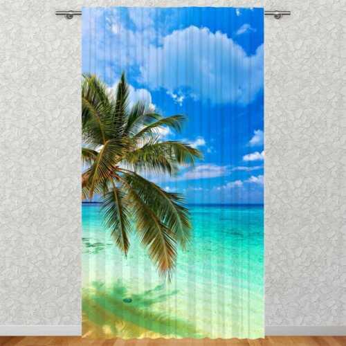 """Vorhang /""""Strand Palme /& Meer/"""" 135 x 245 cmMotivFotovorhangDigitaldruck"""