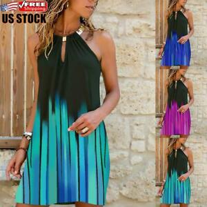 US Womens Striped Halter Neck Sleeveless Mini Dress Ladies Summer Beach Sundress