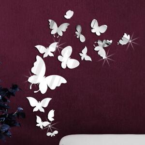 Schmetterling-Spiegel-14er-Set-Deko-Schwarm-Goldspiegel-Kunststoff-PS-Klebepunkt