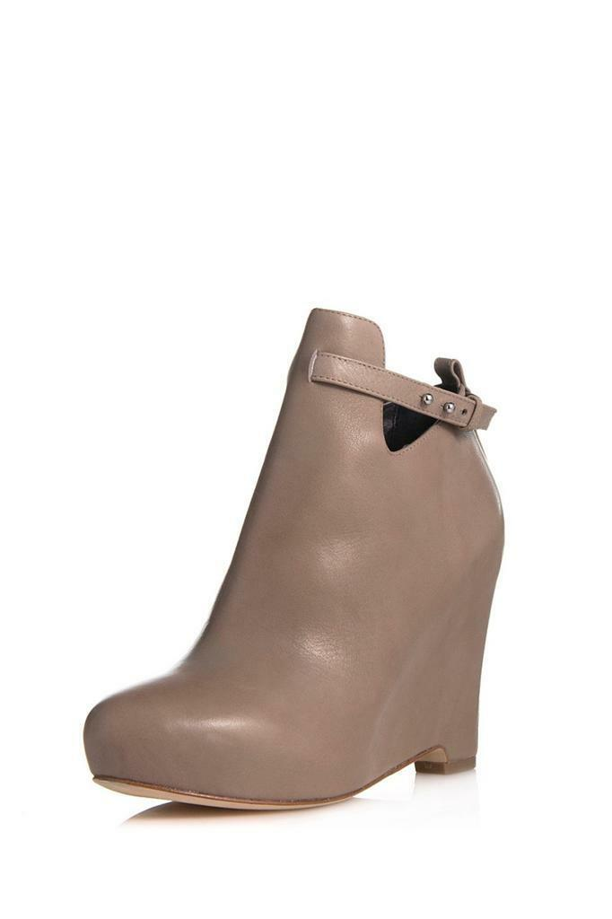 Elizabeth and James Peri Stone Wedge Stone Peri Leather almond toe boot bootie V cutout zip 1aa736