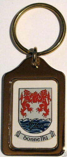 Donnelly Irish Coat of Arms Solid Brass Key Chain NEW