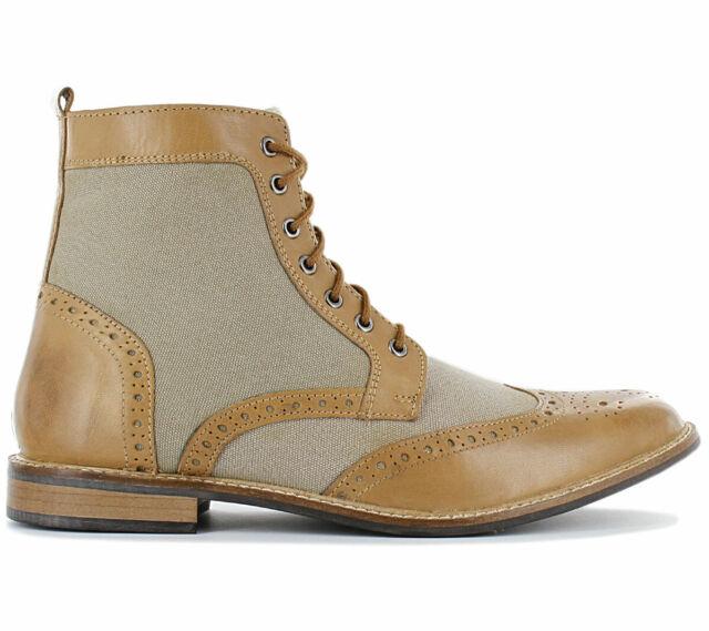 19V69 ITALIA Herren Stiefeletten Business Stiefel Schuhe Boots Leder Textil NEU