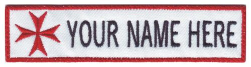 Text Tag Patch Paramedic Maltese Cross Custom Embroidered Name