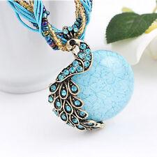 New Women's Turquoise Peacock Nature Necklace Pendant Jewellery Gift Wedding UK