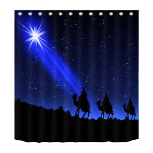 Details About Waterpoof Fabric Nativity Of Jesus Night Stars Scene Bathroom Shower Curtain Set