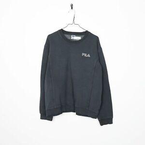 Vintage-FILA-Small-Logo-Sweatshirt-Jumper-Grey-Large-L