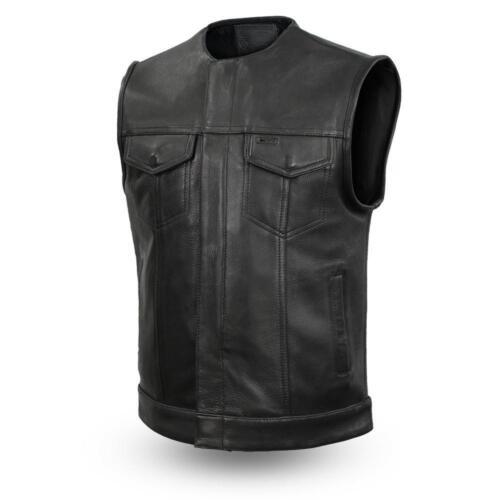 Mens Anarcy platina Gun Club Vest van zoon Riding zakken Biker lederen rEwzxq1rY