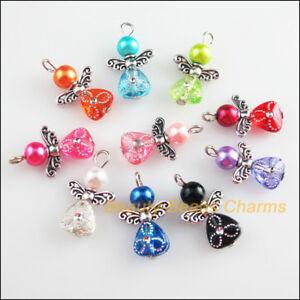 10Pcs-Mixte-Verre-acrylique-danse-ailes-d-039-ange-Fleurs-Charms-Pendentifs-14x22mm