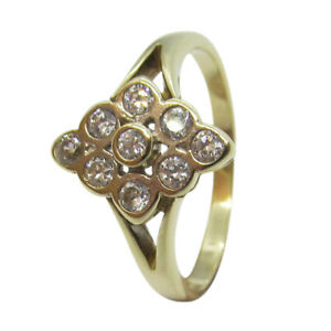 9ct-Yellow-Gold-Vintage-Marquise-Shaped-Cluster-Round-White-CZ-Engagement-Ring
