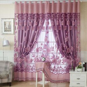 Voilage fleurs riches motifs rideaux tulle voile pour fen tre de porte fr ebay - Voile pour fenetre ...