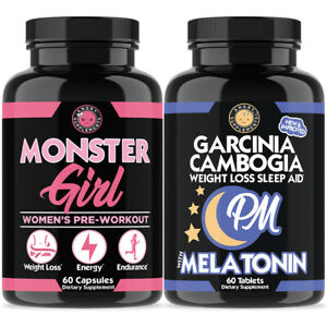 Women's Pre-Workout & Weight Loss + Garcinia Cambogia PM Sleep and Rest Aid 2PK