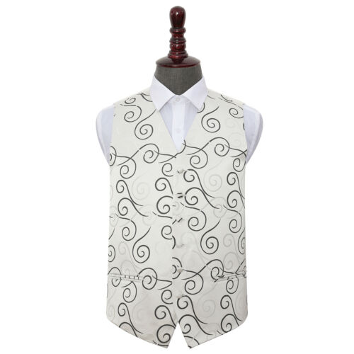 DQT Woven Scroll Patterned Black Formal Mens Wedding Waistcoat S-5XL