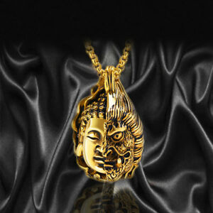 Women Mens Stainless Steel Half Buddha Half Devil Gold Silver Necklace Rolo