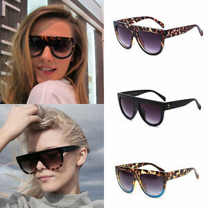 d2ab9371b85 Image is loading Black-Leopard-Oversized-Shadow-Sunglasses-Flat-Top-Shield-
