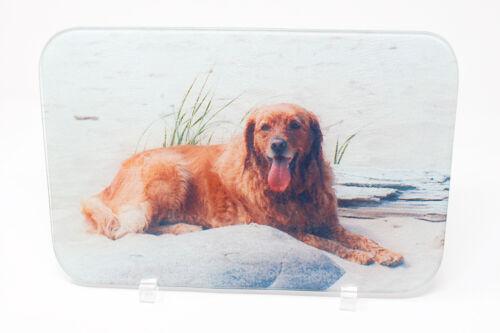 Hand Imprinted Serving Platter Golden Retriever on Beach Cutting Board Glass