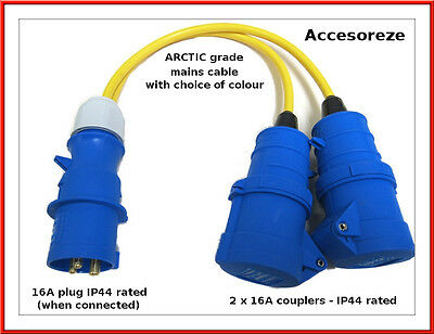 All Lengths 16 AMP to 4 Gang 13 AMP UK Socket 4 Way 16A Caravan Hook Up Extension Lead Motorhome Mains Hook Up 1.5mm 3183Y Orange Cable 20m
