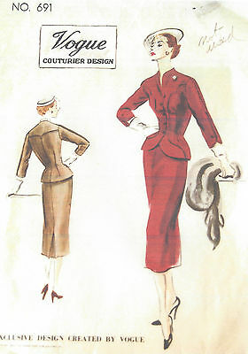 1952 Vintage VOGUE Sewing Pattern B34 SUIT-JACKET & SKIRT (1110)