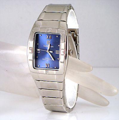 2-Tone Retro Designer Silver Rhodium Pltd Mens Gents Navy Blue Dress Wrist Watch