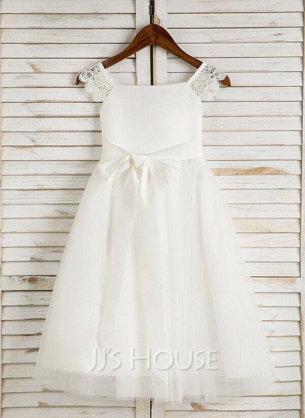 A Line Tea length Flower Girl Dress Satin Tulle Sleeveless Square Neckline Sash