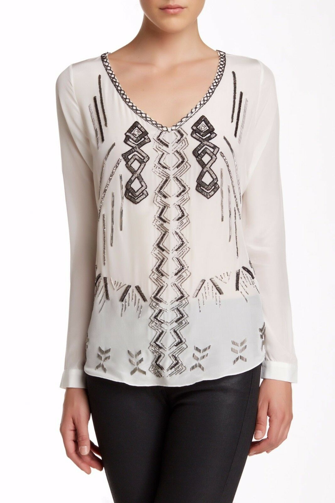 NWT Nicole Miller Beaded Embellished Silk Blouse Top Ivory Größe S 345