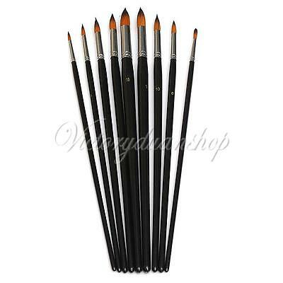 9Pcs Round Pointed Nylon Hair Watercolor Acrylic Oil Paint Brush Artists Brushes
