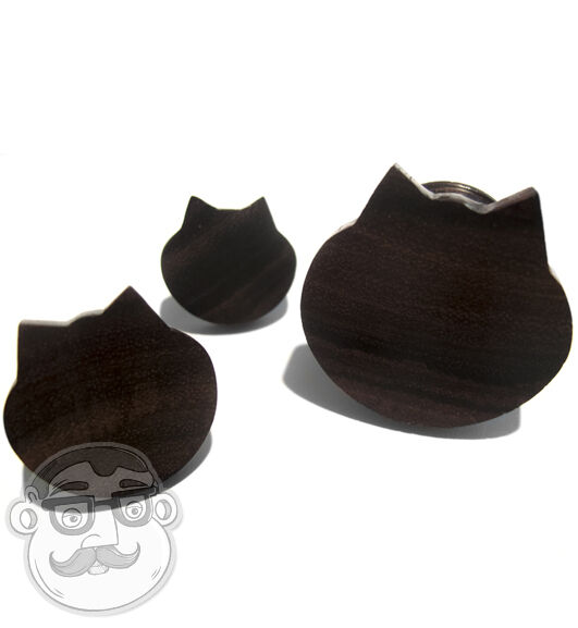 1 Pair of Cat Face Sono Wood Plugs Sizes / Gauges (6 Gauge - 1 Inch) - New!